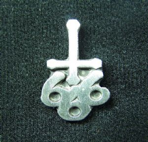 666 inverted crucifix logo pewter badge